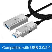 Волоконно-оптический активный Удлинительный Кабель USB 3,0 штекер-гнездо Удлинительный кабель совместимый с USB 2,0/1,1 5 10 15 20 30 40 50 м