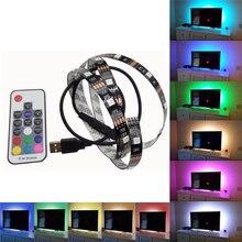 Свет прокладки Сид дистанционного управления USB Гибкие светодиодные полосы света 5050smd подсветки телевизора самоклеящиеся 5В водонепроницаемый 0.5/1/2/3/4/5м RGB