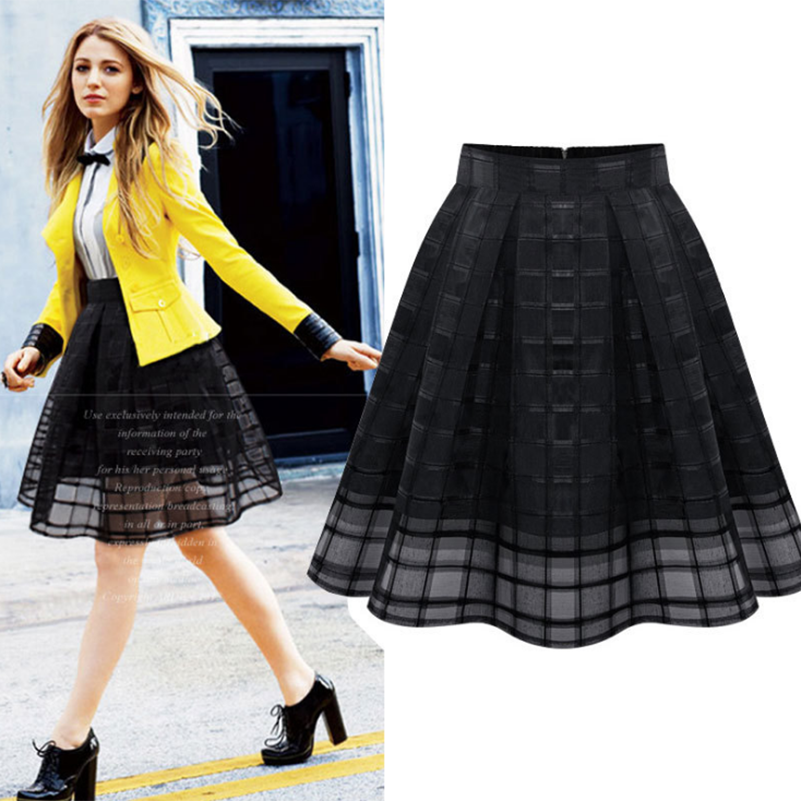 Waist Female Women Hollow Out Solid Black Summer Plaid 2020 High Skirts Office Style Loose Elegant Lady White Clothing Casual Ho