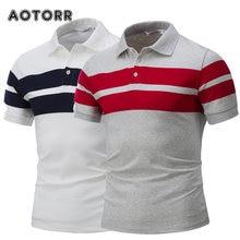 Polo rayé à manches courtes pour hommes, décontracté coton, à revers, à la mode, business, haute quantité