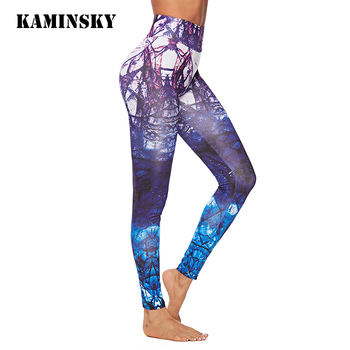 Kaminsky Printing Legging Women Polyester High Waist Pencil Pants Fashion Trousers Breathable Push Up Long Fitness Leggings image
