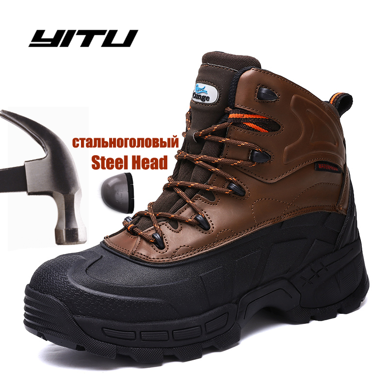 Safety Work Boots For Men Winter Security Ankle Shoes Anti-smashing Steel Toe Cap Boots Men Construction Work Boots