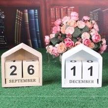Decoration Perpetual-Calendar Wooden-Block Home Artcraft Office-Supplies House-Shape