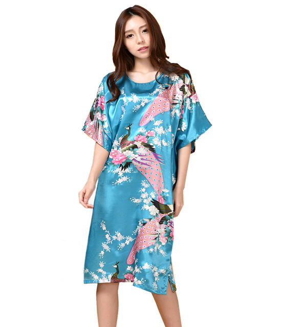 Hot Sale Blue Painting Summer Robe Chinese Women s Faux Silk Bath Gown Nightgown Yukata Flower Plus Size Mujer Pijama S5003