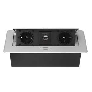 Multifunctional Desktop -Up Socket Aluminum Alloy Dual USB Charging Port Desktop Desktop Socket EU Plug