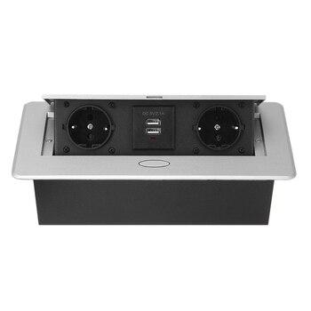 Multifunctional Desktop -Up Socket Aluminum Alloy Dual USB Charging Port EU Plug