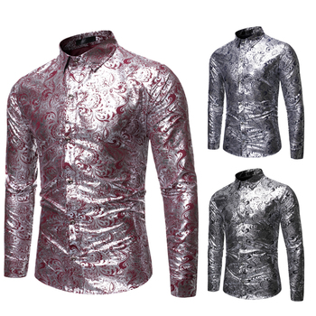 2020Blouse Men's Fashion Casual Long Sleeve Dress Bronzed SequinShirts for Men Winter Shirt Stand Collar French Cuff Dress Shirt contrast collar and cuff grid dress