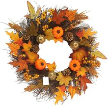 metable Fall Maple Leaf Pumpkin Wreath Christmas Artificial Front Door Decoration Thanksgiving Decorative Garland