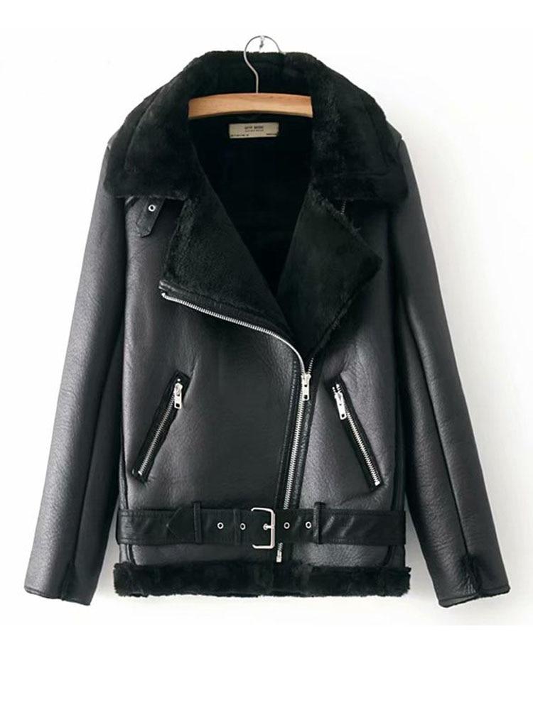 Velvet Jacket Motorcycle Korean-Version Warm Plus Women's Winter Short Thick Lapels-Fur