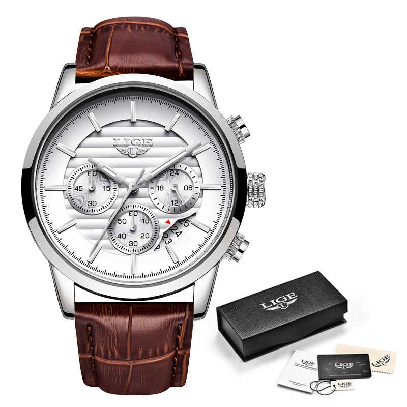 LIGE 2020 nouvelle montre hommes mode Sport Quartz horloge hommes montres marque de luxe en cuir affaires étanche montre Relogio Masculino