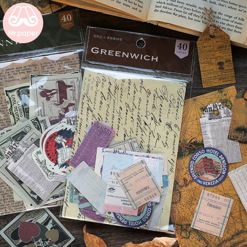 Mr.paper 40pcs/lot Vintage Flower Kraft Card Journaling Bullet DIY Scrapbooking Material Card Retro Hangtag With Hole LOMO Cards