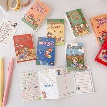Koreański Cartoon Girl notatnik 32 arkusze składany oderwij mały notatnik terminarz naklejki kreatywne Do zrobienia List Kawaii biurowe