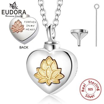 Eudora 925 Sterling Silver Lotus flower Keepsake Heart Locket Necklace Pendant Memorial Urn Jewelry for Cremation Ashes Of Loved stainless steel cremation jewelry angel wings pendant memorial urn necklace