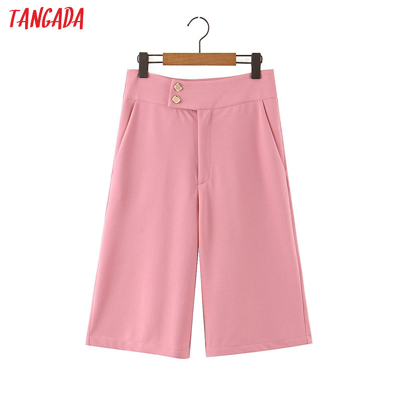Tangada Women Pink Shorts Button Decorate Zipper Pockets Female Office Lady Elegant Work Shorts Pantalones SL283