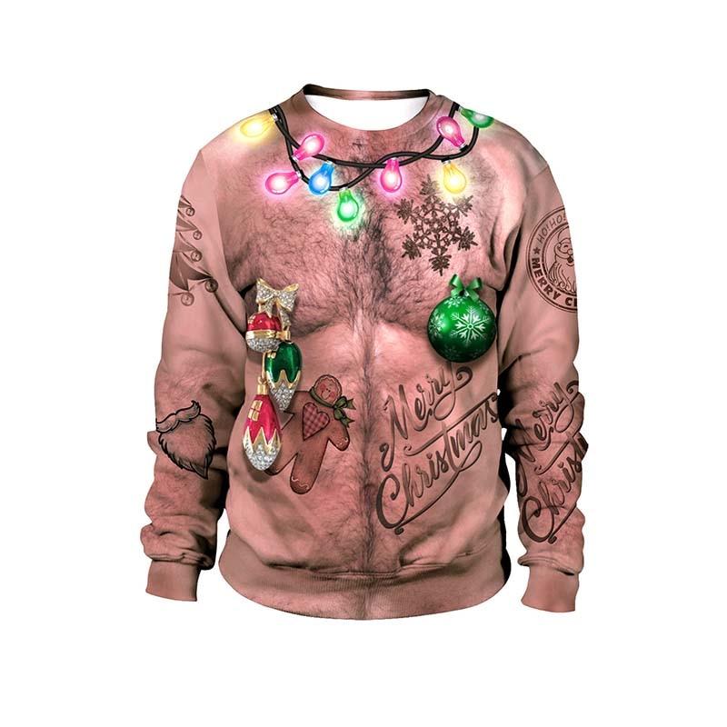 Harajuku Ugly Christmas Sweater Unisex Men Women 3D Print Santa Elf Pullover Funny Female  Sweaters Tops Autumn Winter Cloth