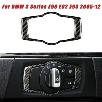 Headlight Switch Trim UV Resistant Carbon Fiber Fit For BMW 3 Series E90 E92 E93 2005-2012 Interior Mouldings image