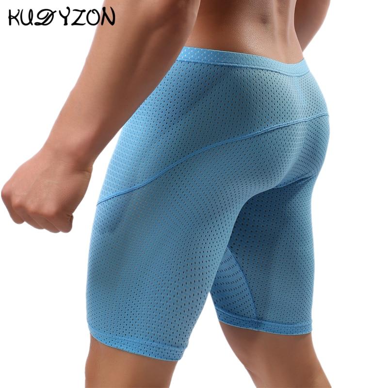 Боксеры мужские сетчатые для фитнеса, длинные дышащие трусы-шорты, пикантное нижнее белье, шорты для бега