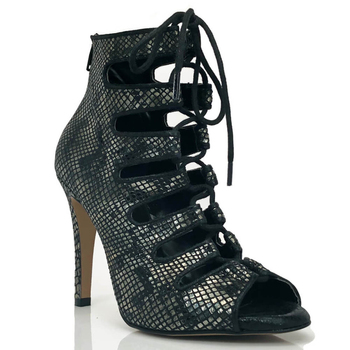 Jazz Salsa Ballroom Latin Dance Shoes For Dancing Women Vegan Black Suede and Patent Open Toe Ankle Boot With Strap, 4 Inch Heel handmade christmas green emerald suede sheet leather heel greenery wedding shoes with knot open toe ankle strap d orsay pumps