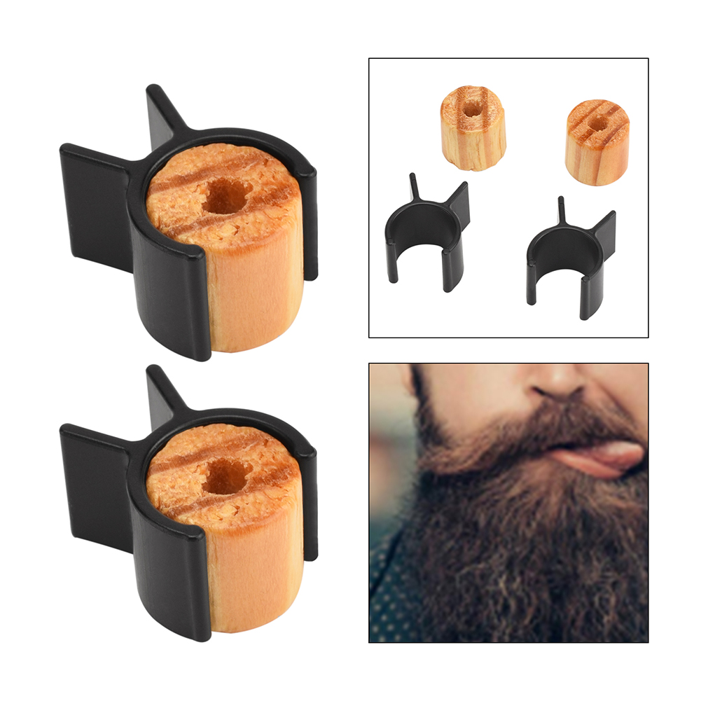 2pcs Men Mustache Curler Roller Wooden Silicone Handle Beard Curling Shaping Styling Tools Salon Mustache Curling Accessories