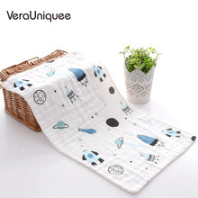 VeraUniquee Bibs Baby Burp Cloths 먹이기 Babador 유아 Baby Bibs Muslin 동물 그림 Soft Breathable Bibs for Children(China)