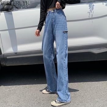 New autumn plus size women fashion casual Denim Pants woman female  ripped jeans for women ripped jeans for2020 ripped denim grab bag