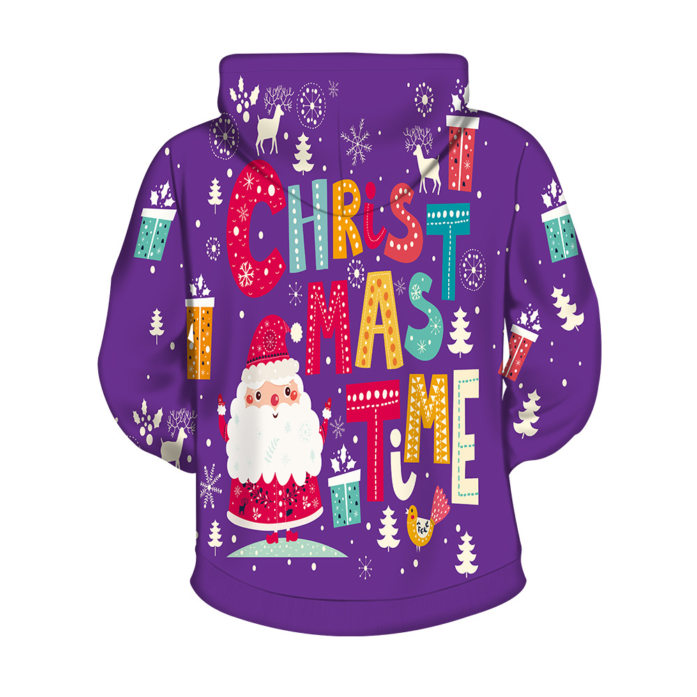 Purple Christmas.Us 24 39 2018 Autumn And Winter New Style Purple Spoof Trick Christmas Printed Hoodie Men And Women Europe And America Loose Fit Wy1771 On