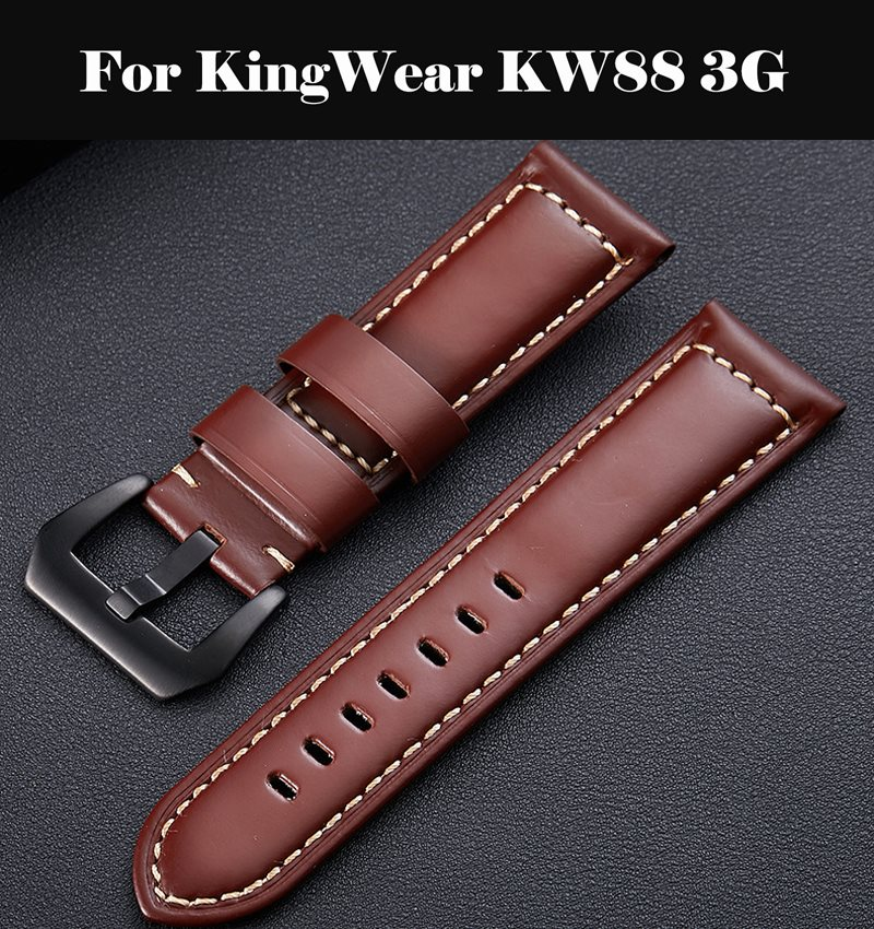 Watchband Soft Calf Genuine Leather <font><b>Watch</b></font> Strap 18mm 20mm 22mm 24mm <font><b>Watch</b></font> <font><b>Band</b></font> Wristband For KingWear <font><b>KW88</b></font> 3G image
