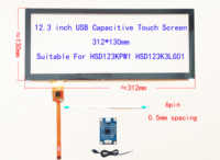 Pantalla táctil de 12,3 pulgadas para coche digitalizador para LCD-LQ123K1LG03 HSD123KPW1 con controlador USB, compatible con Win8 10 Raspberry Pi 312mm * 130mm