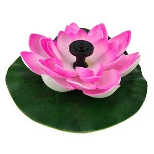Розовый на солнечной батарее в виде лотоса фонтан цветок лотоса Фонтан Водяной насос внутренний двор пейзаж цвета сад фонтан Пруд Солнечны...