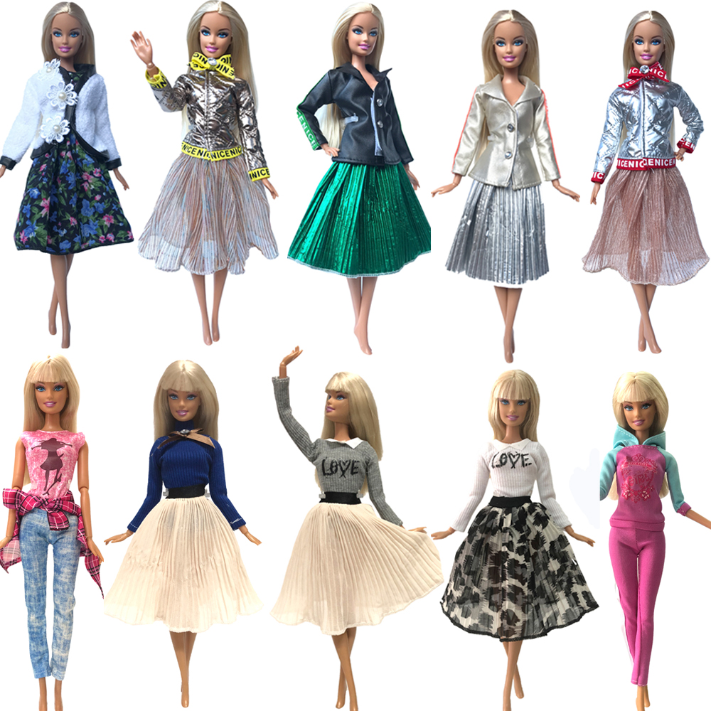 NK Hot sale  1xDoll Dress Girls' Outfit Handmade Party Clothes Top Fashion Skirt For Barbie Doll Baby Toys Girls' Gift  G1 JJ