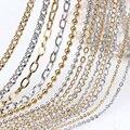 Высокое качество, различные стили из нержавеющей стали, Очаровательная цепочка, покрытие, настоящее золото, звено, сделай сам, браслет, ожер...
