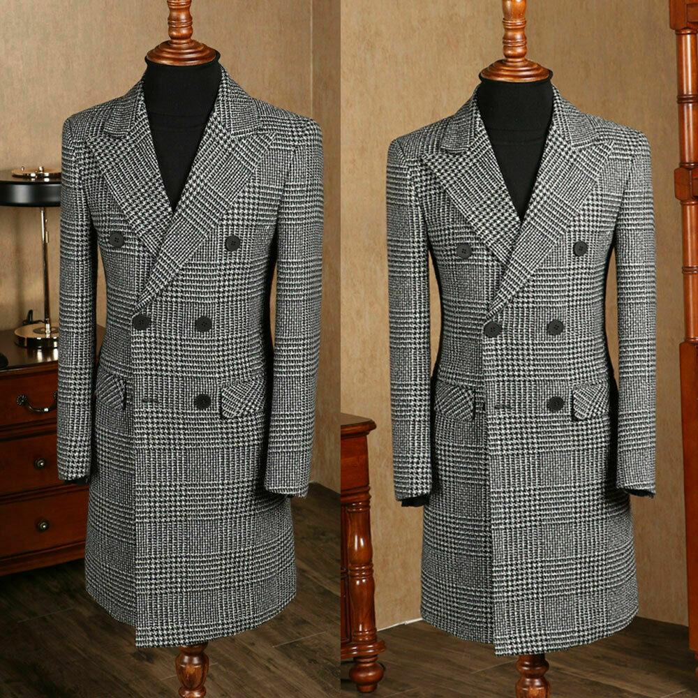 2019 New  Houndstooth Only Long Blazer Men's Suits Set Slim Fit Handsome Groom Tuxedo For Wedding Prom Dinner Formal Suits