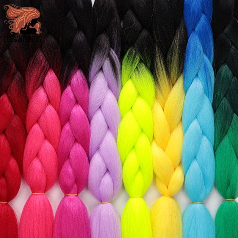 ELEGANT MUSES 1PCS 24inch Jumbo Braid Hair Yaki Soft Hair Ombre Crochet Braiding Synthetic Hair Extension For Braids Pink