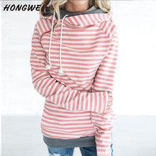 2019 jesień tuniki topy kobiety ciepłe bluzy z polaru puszyste bluzy sweter z golfem swetry top z zamkiem zimowe ubrania damskie tanie tanio HONGWEI COTTON Paski Na co dzień Z kapturem REGULAR Pełna GT093 S M L XL 2XL 3XL
