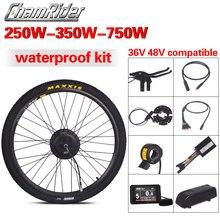 Kit de conversión de bicicleta eléctrica, Motor de accionamiento directo MXUS, conector impermeable LCD3 LCD8 Julet, 36V, 48V, 250W, 350W, 500W