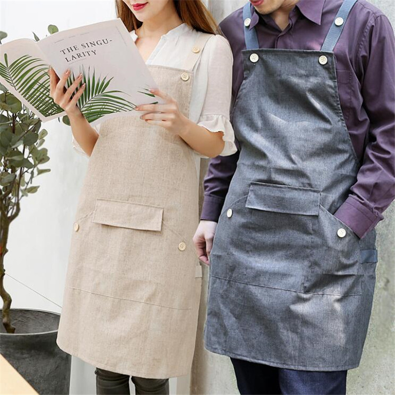 Fashion Unisex Cooking Baking Aprons Bibs With Pocket Milk Tea Beauty Shop Kitchen Work Clothes Household Cleaning Accessories|Aprons| |  - title=