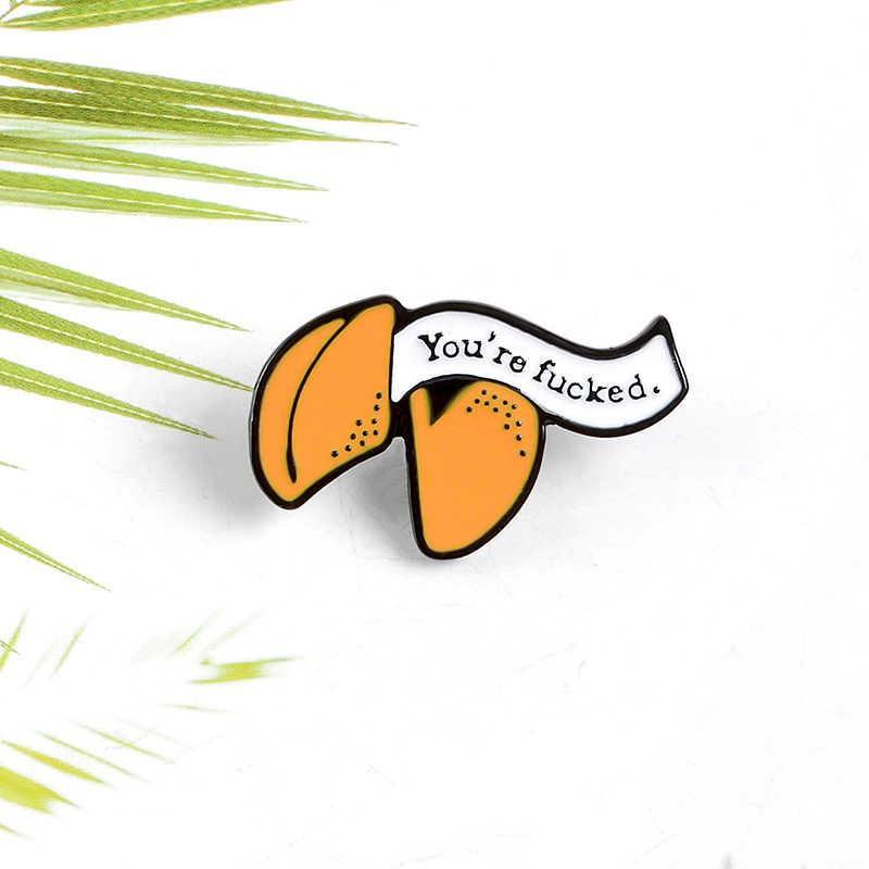 Grosso nota carta nota fortuna cookie esmalte personalizado pino recibo divertido sorte mochila pano denim crachá lapela broche jóias presente