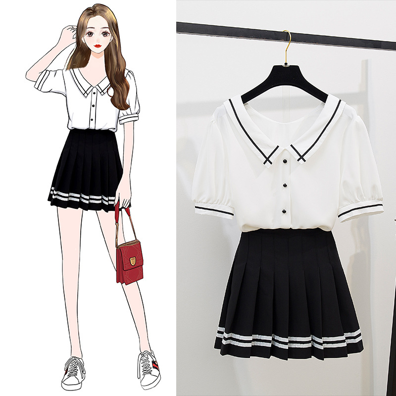 Graduation Season Induced Eventually Lost Youth Best Friend Set V-neck Chiffon Shirt Tops A- Line Pleated Short Skirt