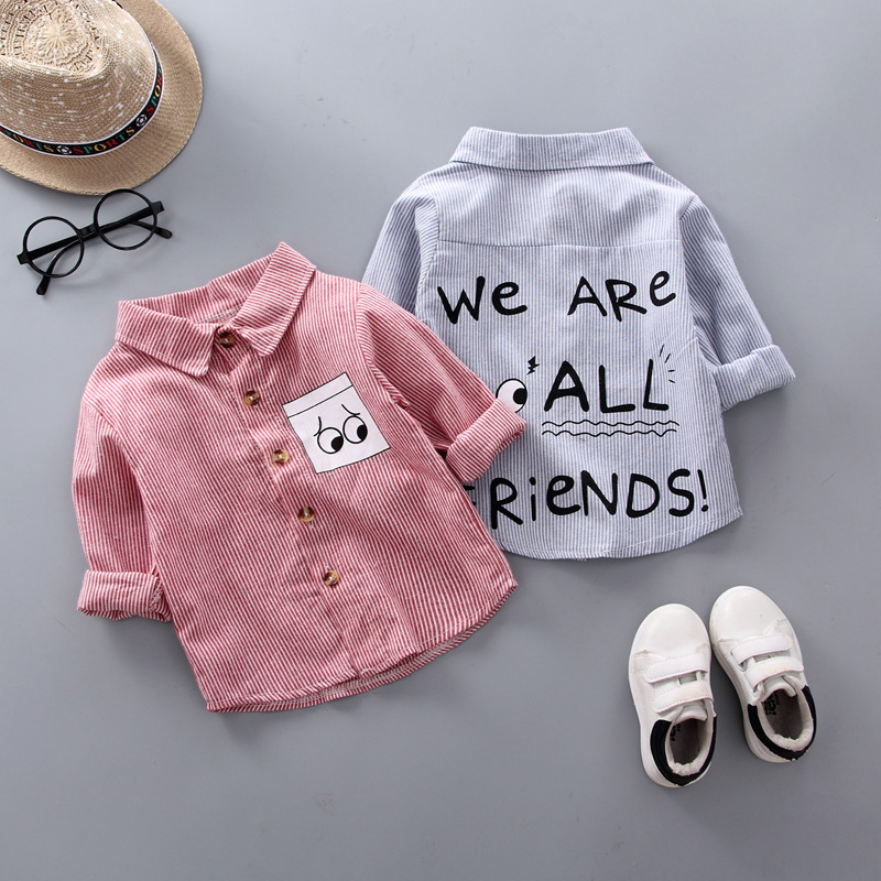 IENENS Stripe Shirt Clothes Baby Spring Shirts Toddler Infant Boy Long Sleeve Tees Tops 1 2 3 4 Years Kids  Cotton Shirt