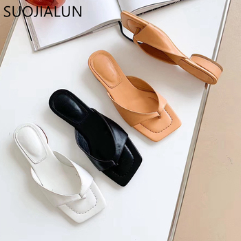 SUOJIALUN 2020 New Brand Desinger Women Slippers Elegant Low Heels Sandals Summer Outdoor Beach Flip Flop Ladies Mules Slides sandals 2016 new famous brand buckle womens flip flop sandals summer beach sandals af327