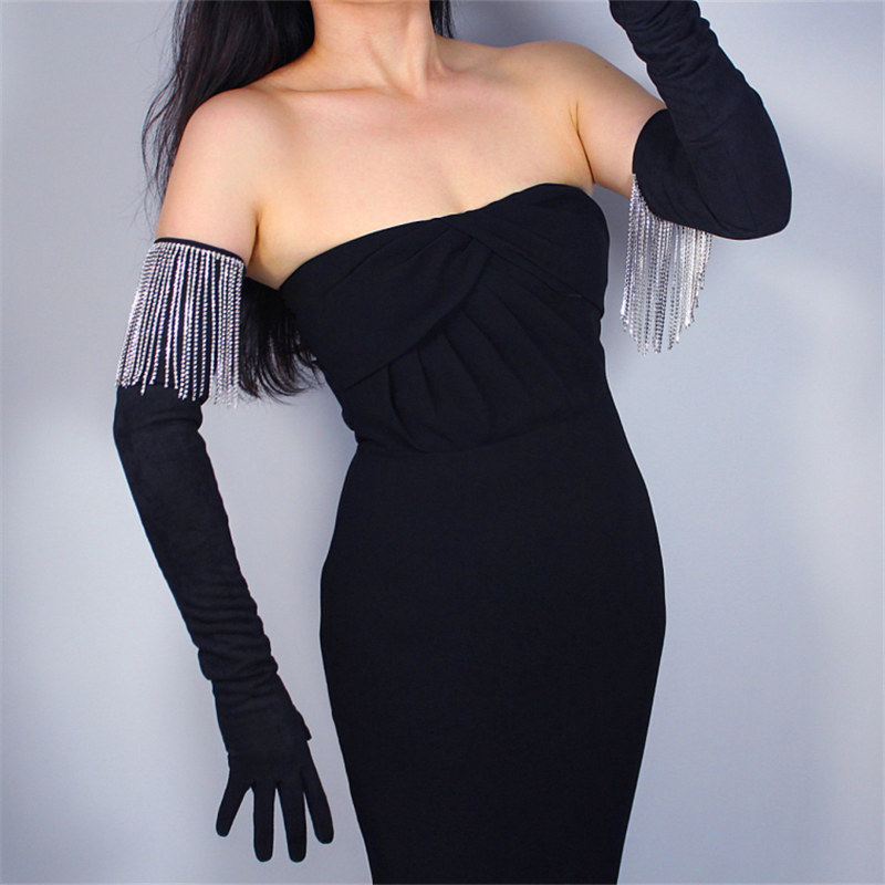 2020 New 70cm Rhinestone Extra Long Gloves Tassel Chain AAA Diamond Imitation Leather Suede Matte Black Woman's Gloves WJP09-70