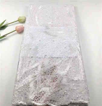 2019Popular Nigerian sequins lace fabric high quality New African tulle lace With beads fabric for Wedding Dresses Win671e White