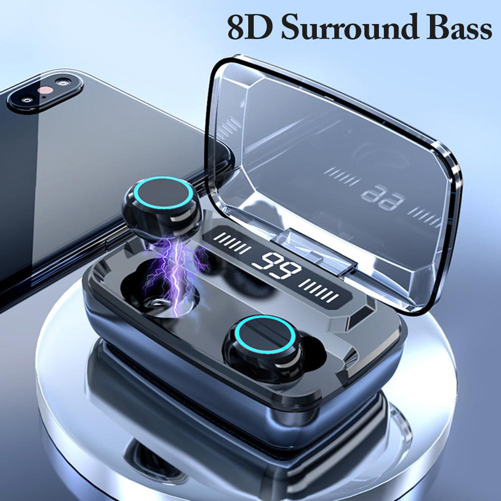 BT 5 0 LCD Headset TWS 8D Surround Bass Wireless Earphones Mini Earbuds Stereo Headphones Digital Touch with LED Display