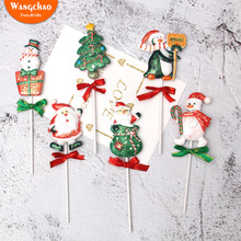 Merry Christmas Theme Cake Decoration Xmas Resin Santa Snowman Penguin Cupcake Topper Festival Party Supplies Kids Favors