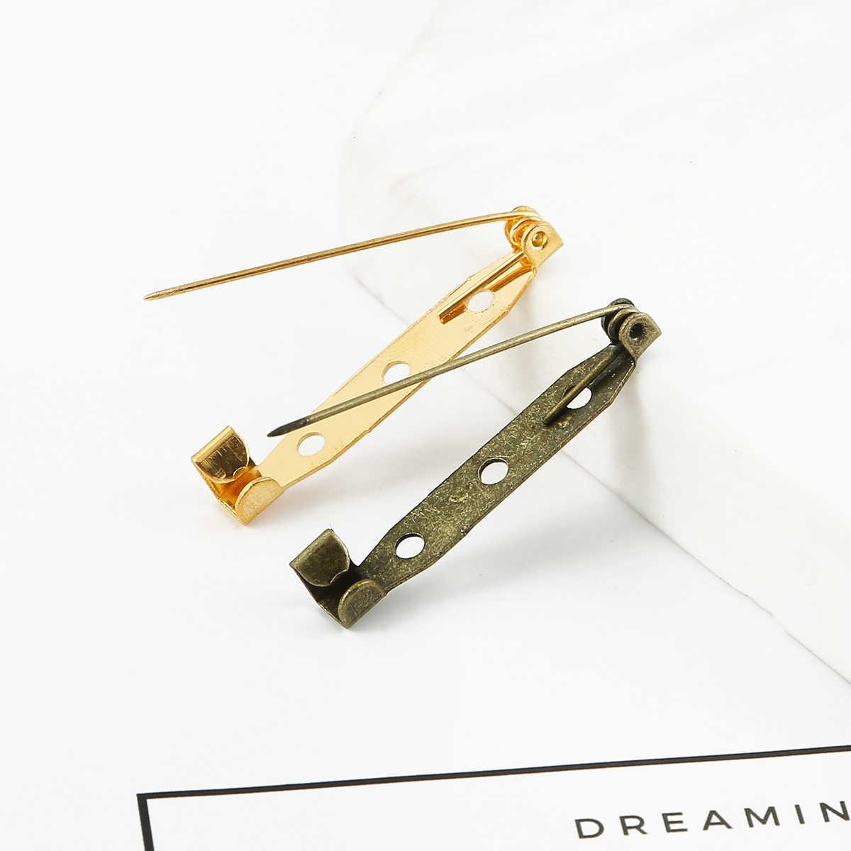 10 sztuk/partia broszka klip baza Pins 15 20 25 30 35mm szpilki bezpieczeństwa ustawienia broszka puste podstawy dla DIY biżuteria...