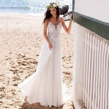 Beach Boho Wedding Dresses Lace Appliques Bridal Dress Spaghetti Straps vestido de noiva Backless Chiffon Gowns