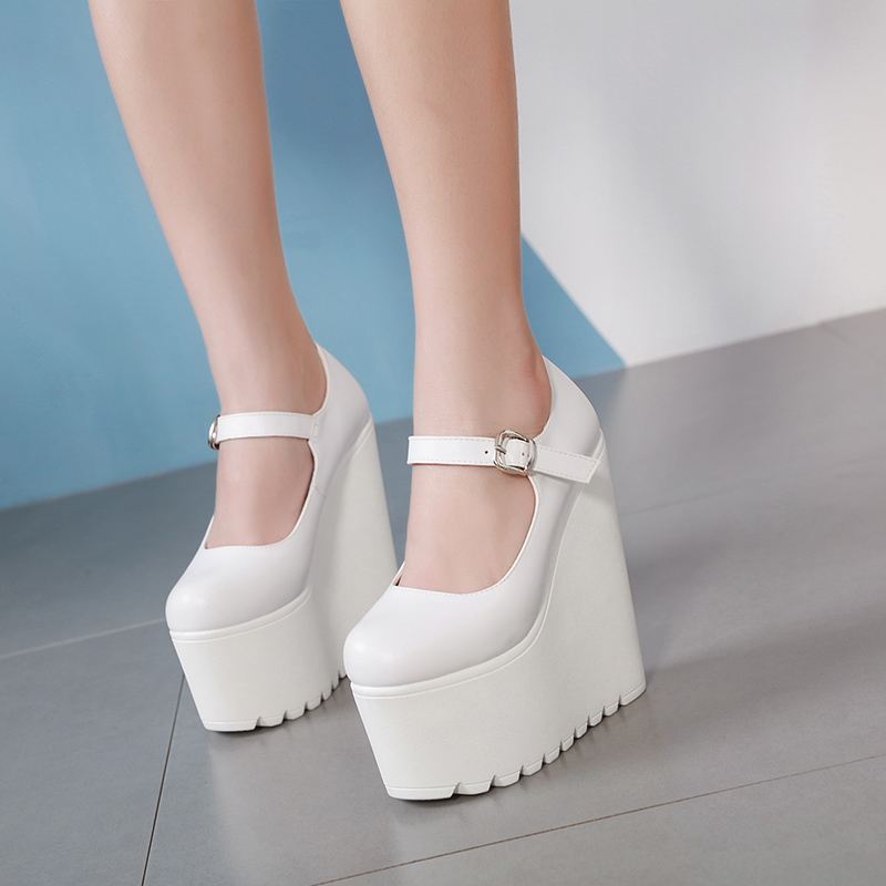 <font><b>17</b></font> <font><b>Cm</b></font> Round Head Platform Super <font><b>High</b></font> <font><b>Heel</b></font> Thick <font><b>Heel</b></font> Women's Shoes Black And White Pumps For Women Sexy Wedges image