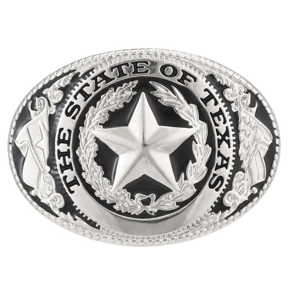 The State Of Taxas Star Pattern Western Cowboy Cowgirl Belt Buckle  For Man  Zinc Alloy  Width 4cm Without Belt Buckle