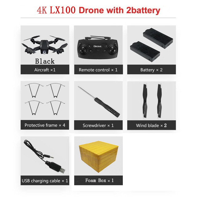 LAUMOX LX100 Радиоуправляемый Дрон с 4 K/1080 P HD камерой оптическое позиционирование потока wifi FPV складной Квадрокоптер вертолет дроны следуем за мной - Цвет: 4K 2B FB B