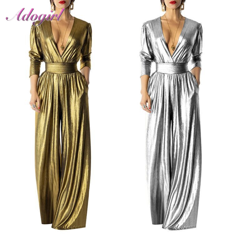 Sexy Solid Shining Metallic Bandage Night Party Club Jumpsuit Women Spring Deep V Neck Long Sleeve Rompers Loose Wide Leg Pants